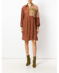Erika Cavallini Semi Couture - Orange Patchwork Shirt Dress - Lyst