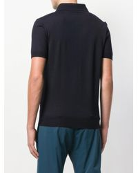 Prada - Blue Embroidered Polo Shirt for Men - Lyst