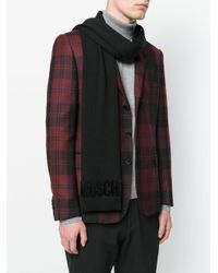 Moschino - Black Embroidered Logo Scarf for Men - Lyst
