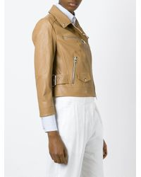 DROMe | Brown Cropped Lambskin Biker Jacket | Lyst