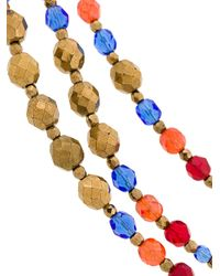 Armani - Blue Multi String Beaded Necklace - Lyst
