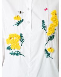 MUVEIL | White Flared Sleeve Embroidered Shirt | Lyst