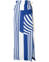 Erika Cavallini Semi Couture - Blue Striped Maxi Skirt - Lyst