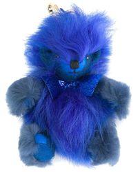 Burberry - Blue Fuzzy Teddy Bear Keyring - Lyst