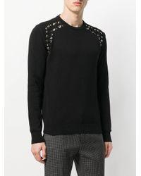 Les Hommes - Black Lace-up Detail Jumper for Men - Lyst