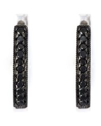 Wouters & Hendrix - Black Diamond Hoop Earrings - Lyst