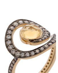Noor Fares - Metallic Anello Decorato Con Diamanti - Lyst