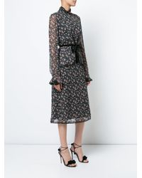 Anna Sui - Black Printed Belted Dress - Lyst