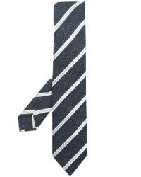 Kiton - Blue Diagonal Striped Tie for Men - Lyst