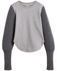 Burberry - Gray Rib Knit-sleeve Sweatshirt - Lyst