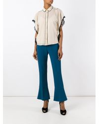 RED Valentino - Black Piped Trim Blouse - Lyst