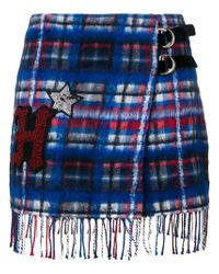 Tommy Hilfiger - Blue Patch Checked Skirt - Lyst