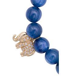 Sydney Evan - Blue Cat's Eye Beaded Bracelet With Diamond Elephant Charm - Lyst