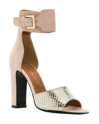 Via Roma 15 - Multicolor Ankle Strap Snakeskin Effect Sandals - Lyst