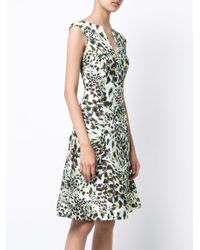 Rubin Singer White Abstract Leopard Print Dress