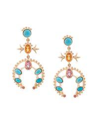 Marlo Laz - Multicolor 14kt Gold Squash Blossom Orange Sapphire Small Hoop Earrings - Lyst