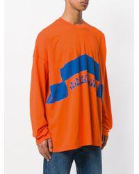 Martine Rose - Orange Logo Print Long Sleeved T-shirt for Men - Lyst