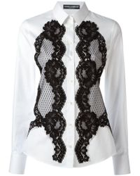 Dolce & Gabbana White Lace Detail Shirt