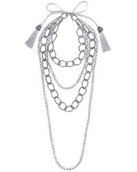 Night Market - Gray Faux Pearl And Bead Layered Necklace - Lyst