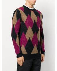 Laneus - Black Argyle Knitted Sweater for Men - Lyst