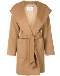 Max Mara - Brown Hooded Belted Coat - Lyst