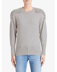 Burberry - Gray Fringed Shoulder Blend - Lyst