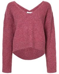 Astraet - Pink V-neck Sweater With Longer Back - Lyst