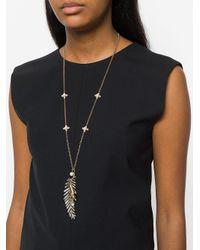 Alberta Ferretti - Metallic Feather Pendant Necklace - Lyst