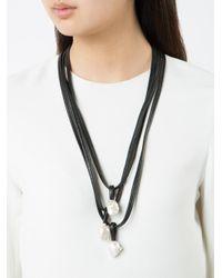Monies | Black Tri Pendant Necklace | Lyst