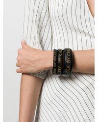 See By Chloé - Black Logo Bangle Bracelets - Lyst