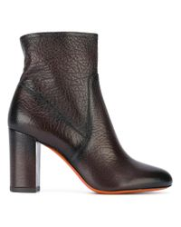 Santoni | Brown Chunky Heel Ankle Boots | Lyst
