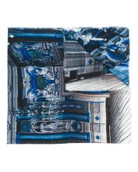 Faliero Sarti - Blue Frayed Hem Printed Scarf for Men - Lyst