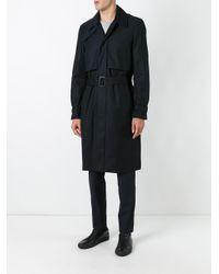 Juun.J - Blue Pocketed Belted Trench Coat for Men - Lyst