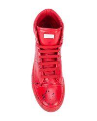 Philipp Plein - Red Paint Splatter Print Sneakers for Men - Lyst