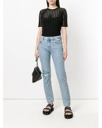 DIESEL - Blue Ripped Detail Straight Jeans - Lyst