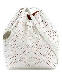 Emporio Armani White Embossed Satchel Bag