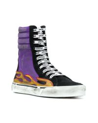 Palm Angels - Multicolor Flames Distressed Super-high Sneakers - Lyst