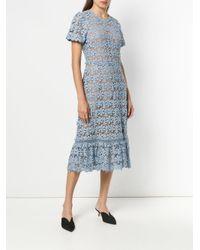 MICHAEL Michael Kors - Blue Floral Lace Midi Dress - Lyst