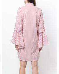 P.A.R.O.S.H. - White Striped Fitted Shirt Dress - Lyst