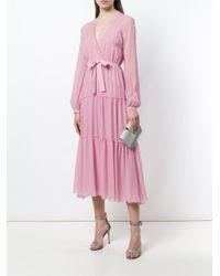 Giambattista Valli Pink Belted V-neck Dress
