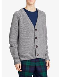 Burberry - Gray Chunky Knit Cardigan for Men - Lyst