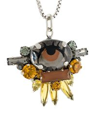 Rada' - Metallic Stone Embellished Pendant Necklace - Lyst