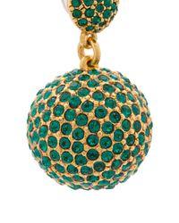 Oscar de la Renta - Green Pavé Dome Earrings - Lyst