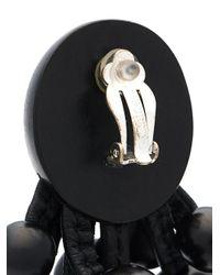 Monies - Black Tassel Bead Clip On Earrings - Lyst