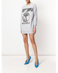 Moschino - Gray Contrasting Applications Logo Dress - Lyst