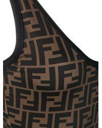 Fendi - Brown One-piece Ff Logo Swimsuit - Lyst