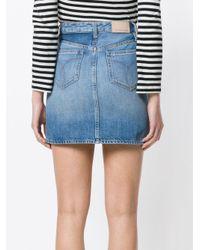 Calvin Klein - Blue Vertical Stripe Denim Mini Skirt - Lyst