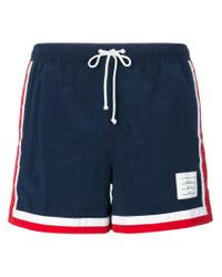 Thom Browne - Blue Classic Swimming Trunks for Men - Lyst