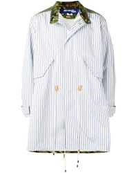 Junya Watanabe White Camouflage-panelled Coat for men