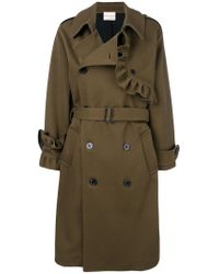 Erika Cavallini Semi Couture - Brown Ruffle Trim Double Breasted Coat - Lyst
